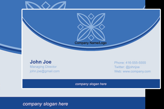 front portion of a business card concept.