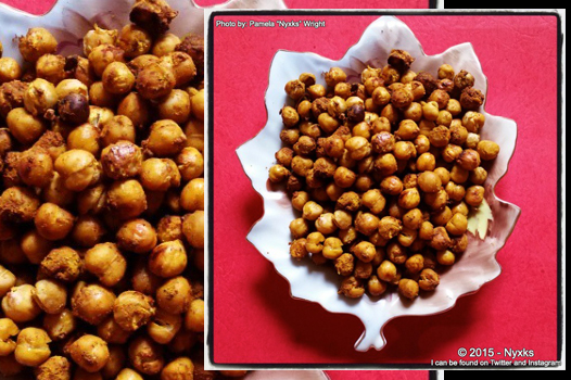 Image of chickpeas in a dish on a red background